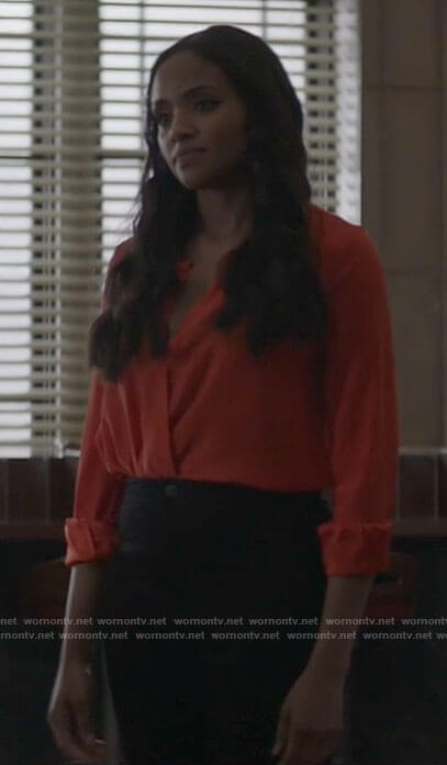 Sophie's red cross front blouse on Batwoman