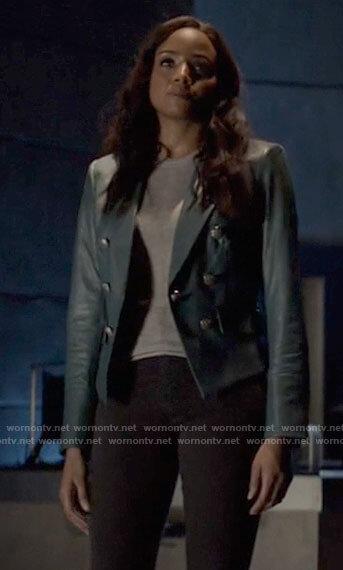 Sophie's teal leather blazer on Batwoman