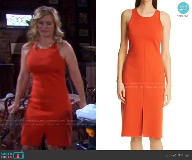 Front Slit Milano Knit Dress by St. John  worn by Sami Brady (Alison Sweeney) on Days of our Lives
