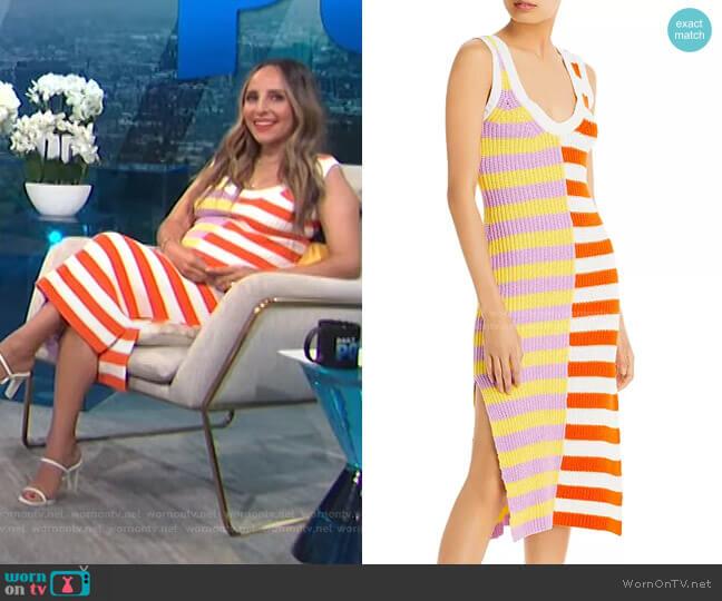 Seashore Stripe Blocked Knit Dress by Staud  worn by Lilliana Vazquez  on E! News