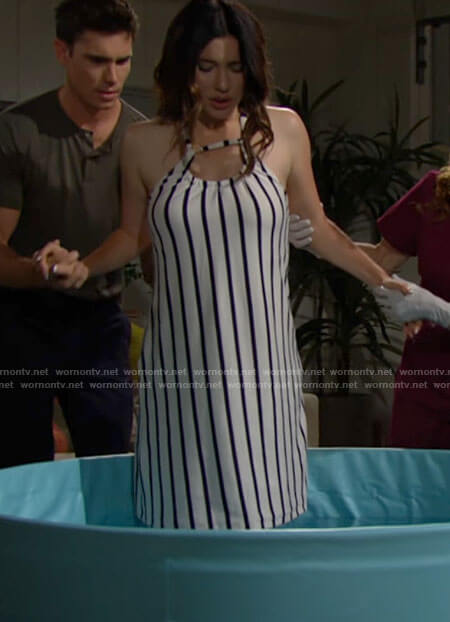 Steffy's striped delivery dress on The Bold and the Beautiful