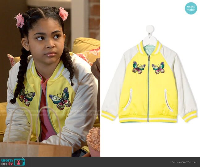 Stella McCartney Butterfly-embroidered Bomber Jacket worn by Millicent (Jaidyn Triplett) on iCarly