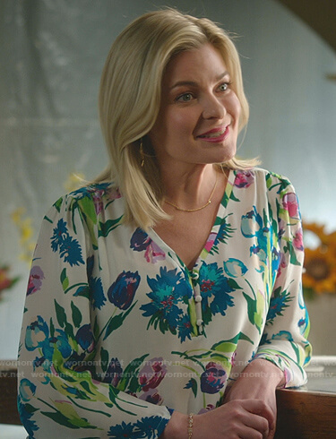 Stephanie's white floral blouse on Good Witch