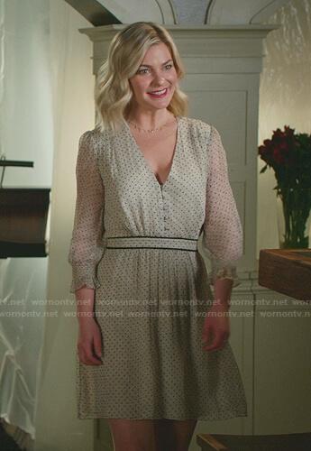 Stephanie's white polka dot v-neck dress on Good Witch