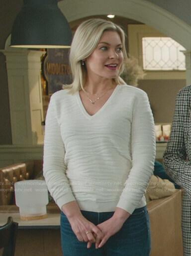 Stephanie's whtie zebra v-neck sweater on Good Witch