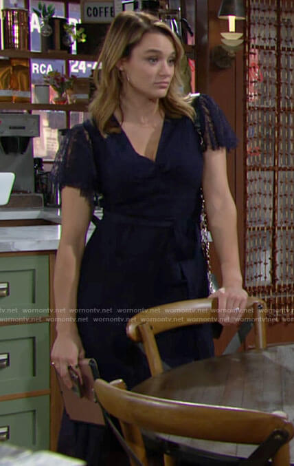 Summer's navy blue lace midi dress on The Young and the Restless