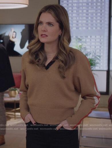 Sutton's beige stripe sleeve sweater on The Bold Type