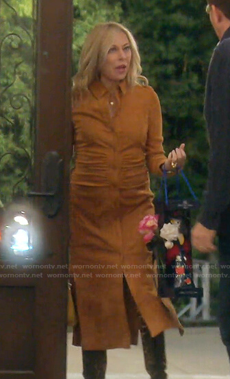 Sutton's brown suede shirtdress on The Real Housewives of Beverly Hills