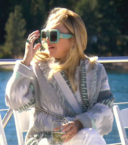 Sutton's grey fringed cardigan on The Real Housewives of Beverly Hills