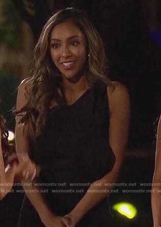 Tayshia's black one shoulder dress on The Bachelorette