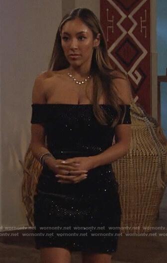 Taisha's black embellished strapless dress on The Bachelorette