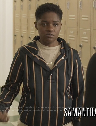 Tamia's striped hoodie on