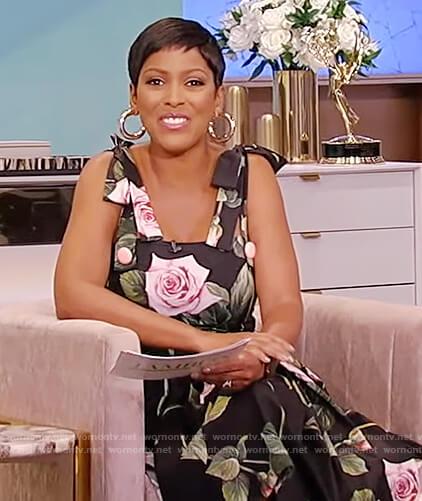 Tamron's black floral print sleeveless dress on Tamron Hall Show