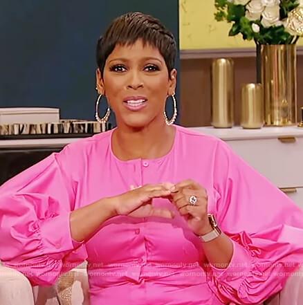 Tamron's pink button down dress on Tamron Hall Show