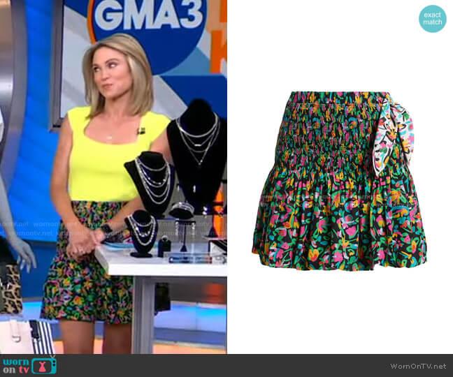 Kira Printed Smocked Skirt by Tanya Taylor worn by Amy Robach  on Good Morning America