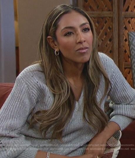Tayshia's gray embellished sweater on The Bachelorette