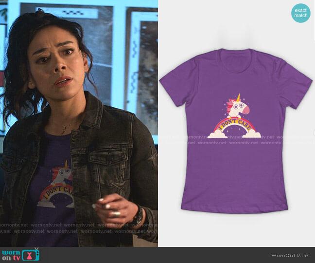 Unicorn Don't Care T-Shirt by DinoMike at Teepublic worn by Ella Lopez (Aimee Garcia) on Lucifer