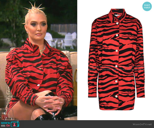 Zebra-Print Mini Shirtdress by The Attico worn by Erika Jayne  on The Real Housewives of Beverly Hills