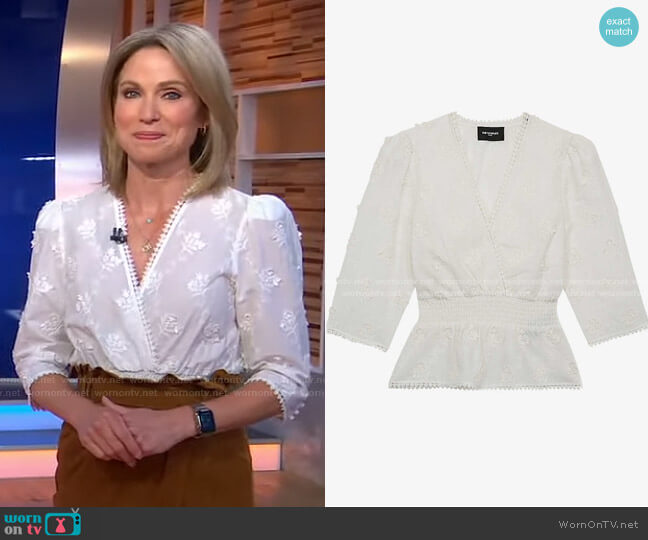 Floral-embroidered cotton top by The Kooples worn by Amy Robach  on Good Morning America