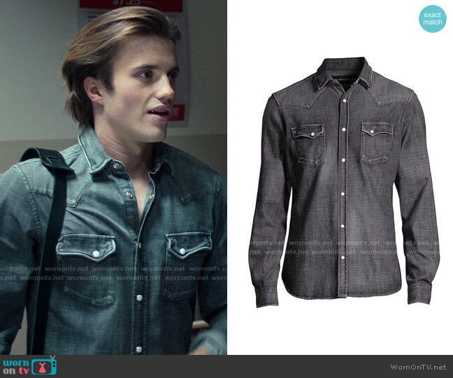 The Kooples Washed Denim Shirt worn by Benjamin Campbell (George Sear) on Love Victor