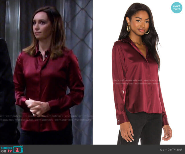 Classic Fitted Shirt by Theory worn by Gwen Rizczech (Emily O'Brien) on Days of our Lives