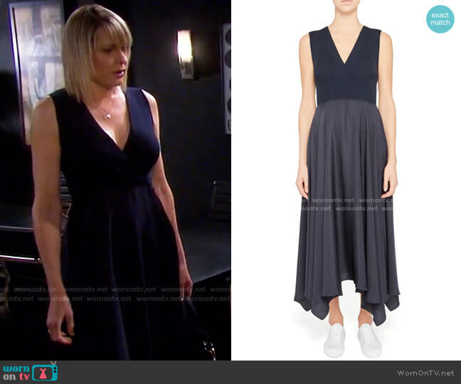 Mixed Media Handkerchief Hem Midi Dress by Theory worn by Nicole Walker (Arianne Zucker) on Days of our Lives