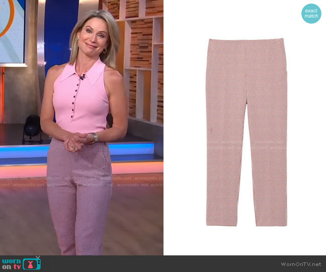 Treeca Houndstooth Ankle Pants by Theory worn by Amy Robach  on Good Morning America