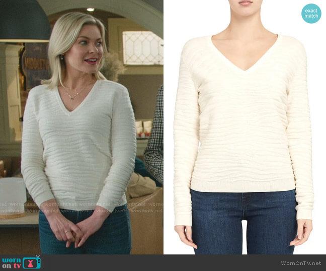 Zebra Stitch Sweater by Theory worn by Stephanie Borden (Kylee Evans) on Good Witch