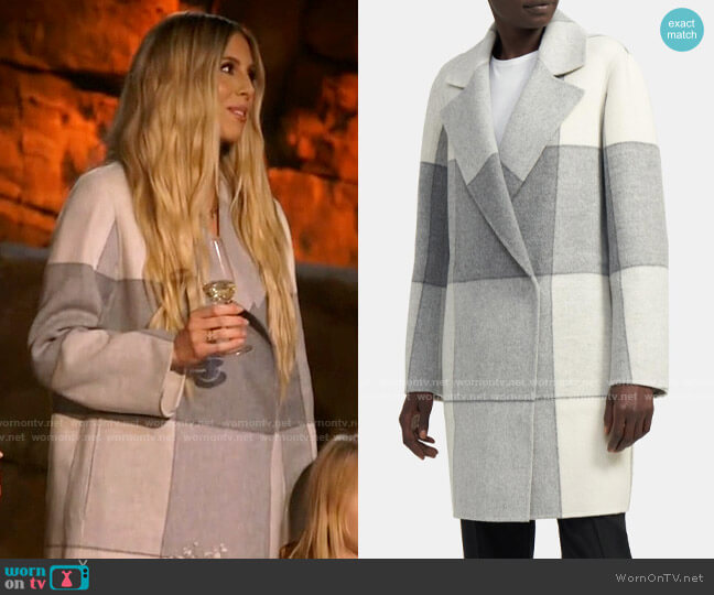 Theory Boy Coat in Buffalo Check Double-Face Wool-Cashmere worn by Ashley Wahler  on The Hills New Beginnings