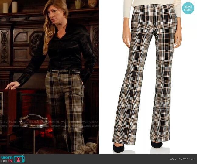 Theory Demitria Plaid Flare Leg Pants worn by Ava Sharpe (Jes Macallan) on Legends of Tomorrow