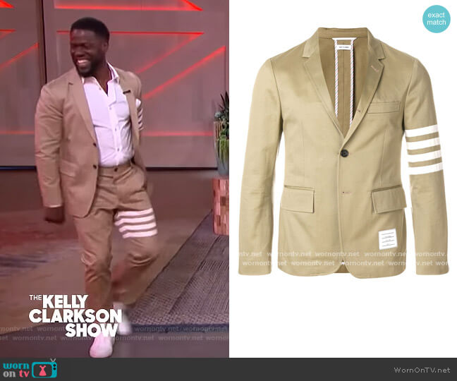 4-bar Unconstructed Sport Coat by Thom Browne worn by Kevin Hart on The Kelly Clarkson Show