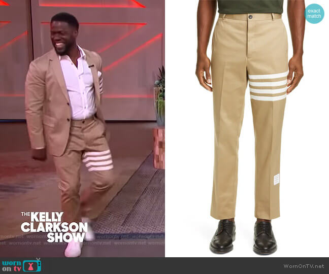 Unconstructed Chino Dress Pants by Thom Browne worn by Kevin Hart on The Kelly Clarkson Show
