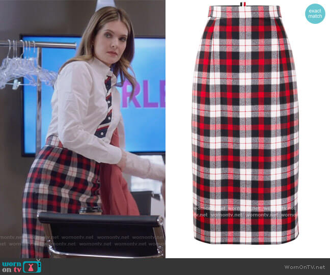 Tartan Check High-waisted Skirt by Thom Browne worn by Sutton (Meghann Fahy) on The Bold Type