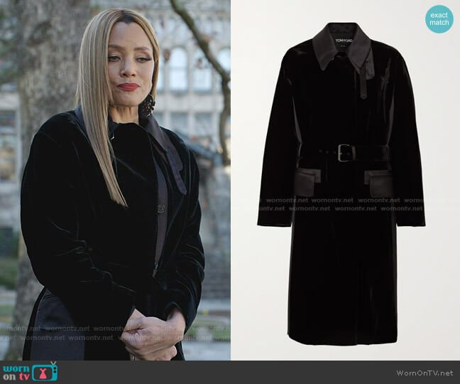 Trench Velvet Coat by Tom Ford worn by Dominique Deveraux (Michael Michele) on Dynasty