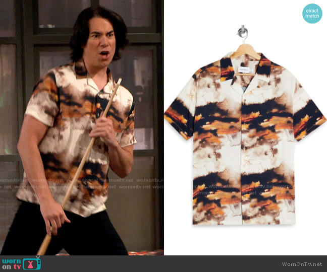 Topman Abstract Print Short Sleeve Button-Up Shirt worn by Spencer Shay (Jerry Trainor) on iCarly