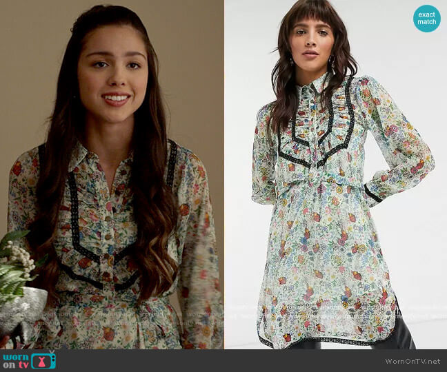 Topshop IDOL shirt dress with ruffle detail in floral print worn by Nini (Olivia Rodrigo) on High School Musical The Musical The Series