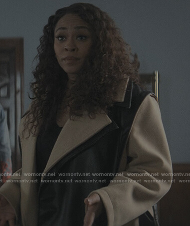 Tracy's black and beige colorblock coat on The Chi