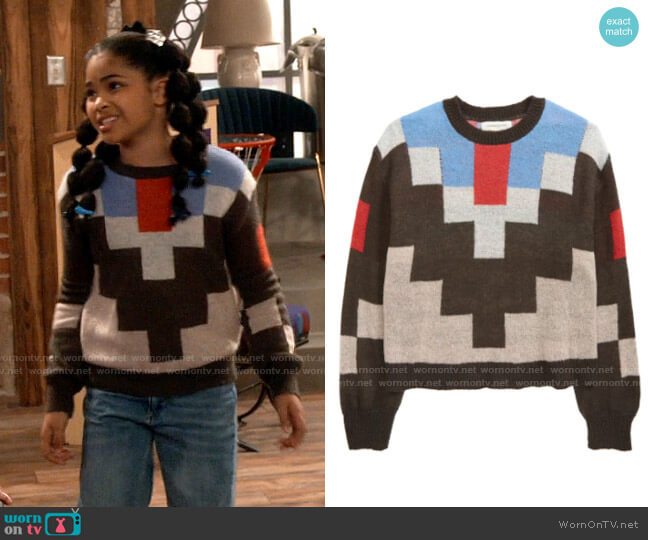 Treasure & Bond Kids' Marled Sweater worn by Millicent (Jaidyn Triplett) on iCarly