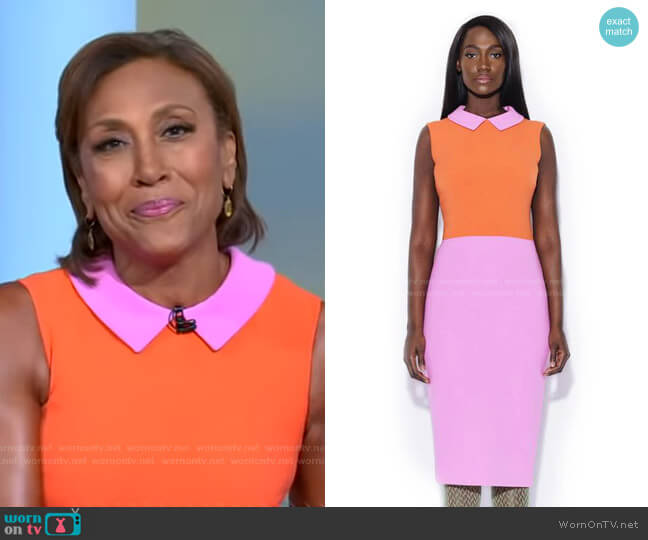 Pink/Orange Collared Color Blocking Dress by Tristan Arch worn by Robin Roberts  on Good Morning America