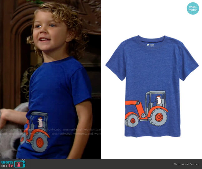 Tucker + Tate Graphic Tee in Blue Surf Heather Tractor worn by Harrison Locke on The Young and the Restless