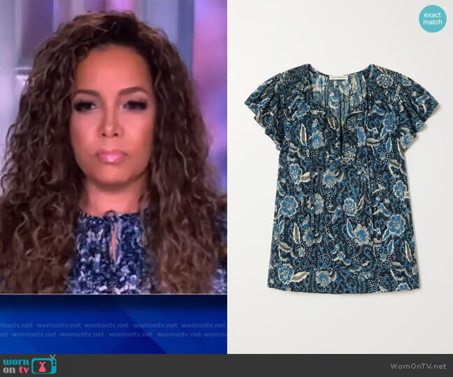 Shani ruffled printed cotton-blend blouse by Ulla Johnson worn by Sunny Hostin  on The View