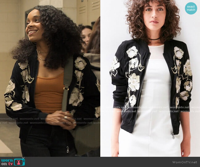 Kimchi Blue Molly Embroidered Bomber Jacket worn by Mia Brooks (Rachel Hilson) on Love Victor