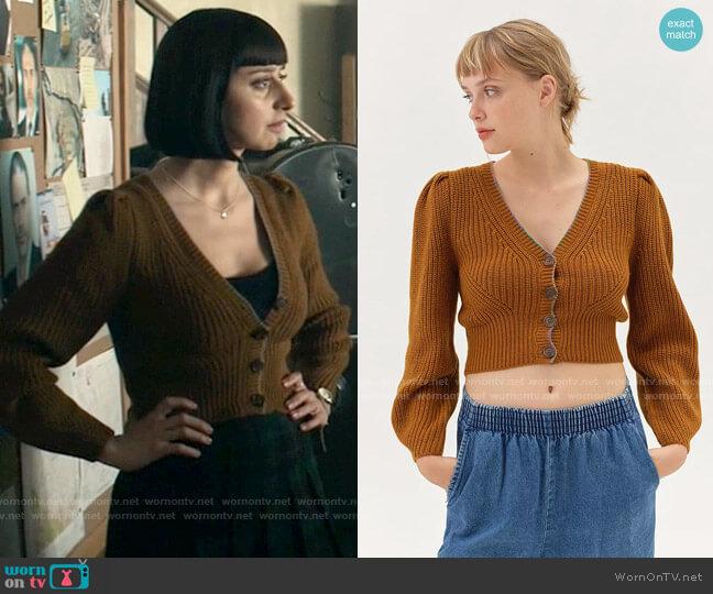 UO Puff Sleeve Cardigan worn by Chrissy Beppo (Sofia Hasmik) on Superman & Lois