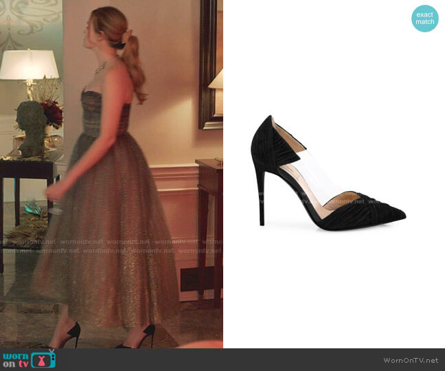 B-Drape Suede Point Toe Pumps by Valentino worn by Kirby Anders (Maddison Brown) on Dynasty