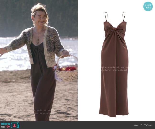 Twisted Silk-Blend Crepe Midi Dress by Valentino worn by Meredith Grey (Ellen Pompeo) on Greys Anatomy