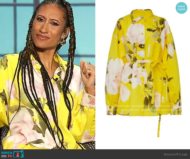 Oversized Floral Cotton-Silk Shirt by Valentino worn by Elaine Welteroth  on The Talk