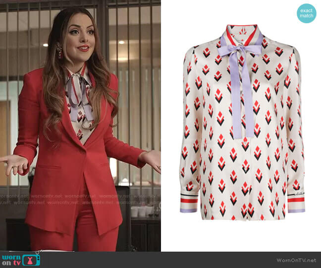 Pussy-Bow Blouse by Valentino worn by Fallon Carrington (Elizabeth Gillies) on Dynasty