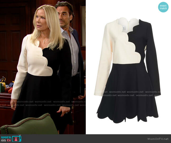 Valentino Scalloped Two-tone Wool And Silk-blend Mini Dress worn by Brooke Logan (Katherine Kelly Lang) on The Bold & the Beautiful