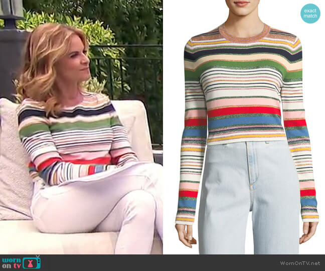 Palmas Metallic Striped Sweater by Veronica Beard worn by Natalie Morales  on Today