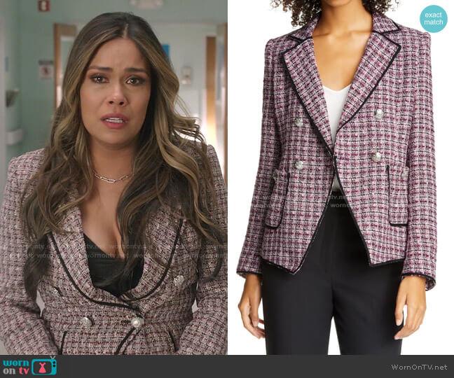Theron Tweed Jacket by Veronica Beard worn by Cristal Jennings (Daniella Alonso) on Dynasty